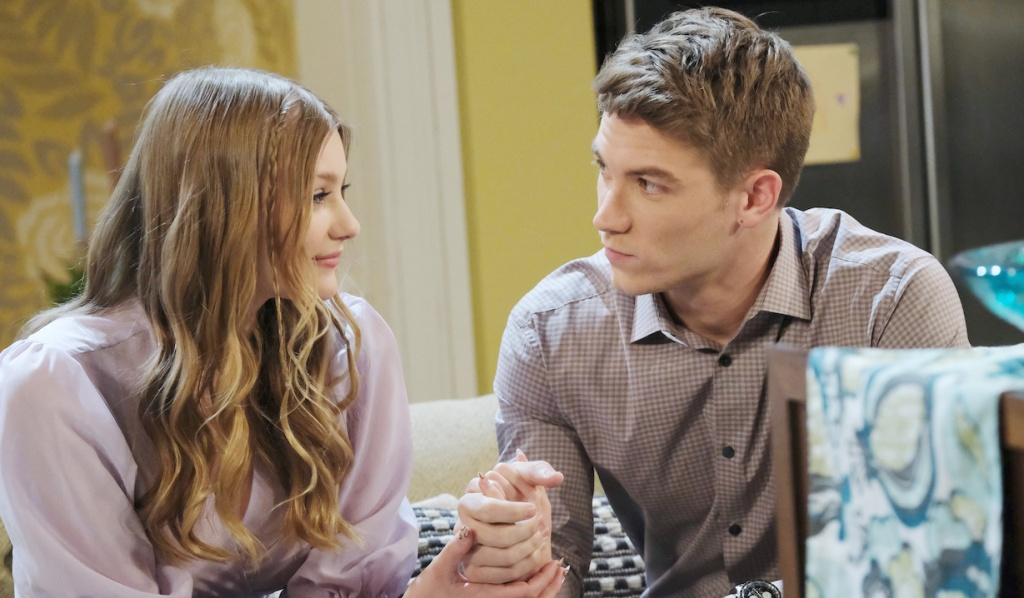 Allie and Tripp hold hands on Days of Our Lives