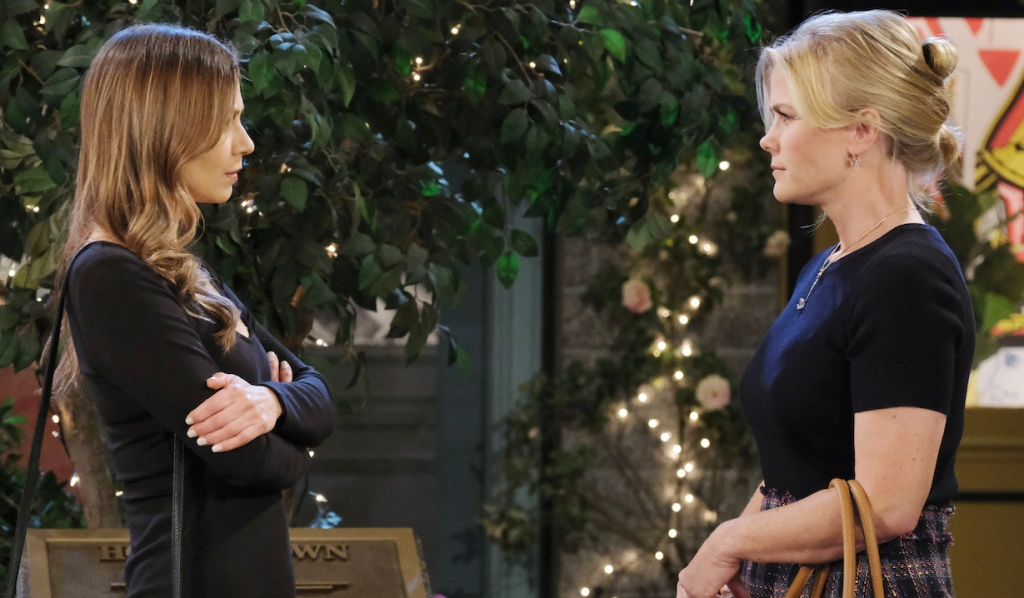 Ava and Sami face off in Horton Square on Days of Our Lives