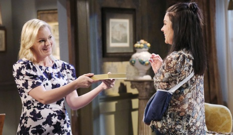 Belle offers Chloe chocolates on Days of Our Lives