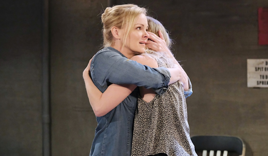Belle embraces Claire on Days of Our Lives