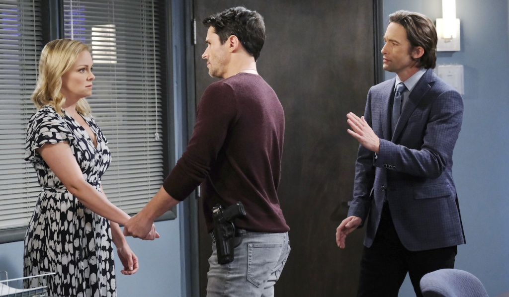 Shawn, Belle and Philip in the interrogation room on Days of Our Lives