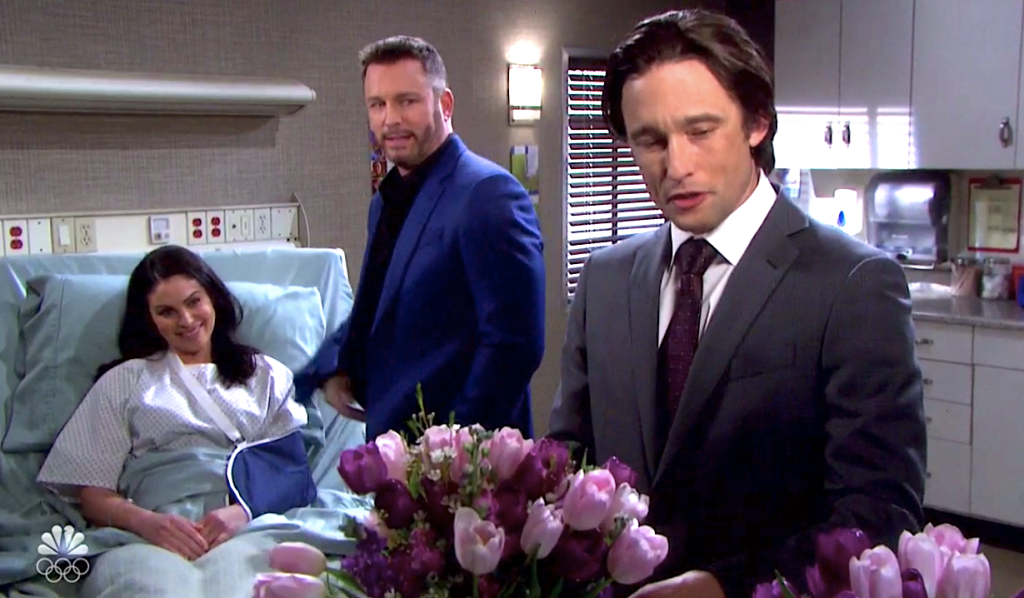 Brady and Philip both bring Chloe tulips on Days of Our Lives