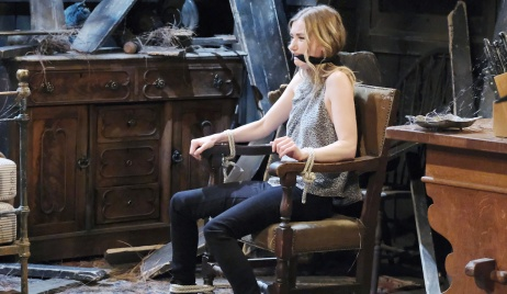 Claire cries through a gag while bound to a chair on Days of Our Lives