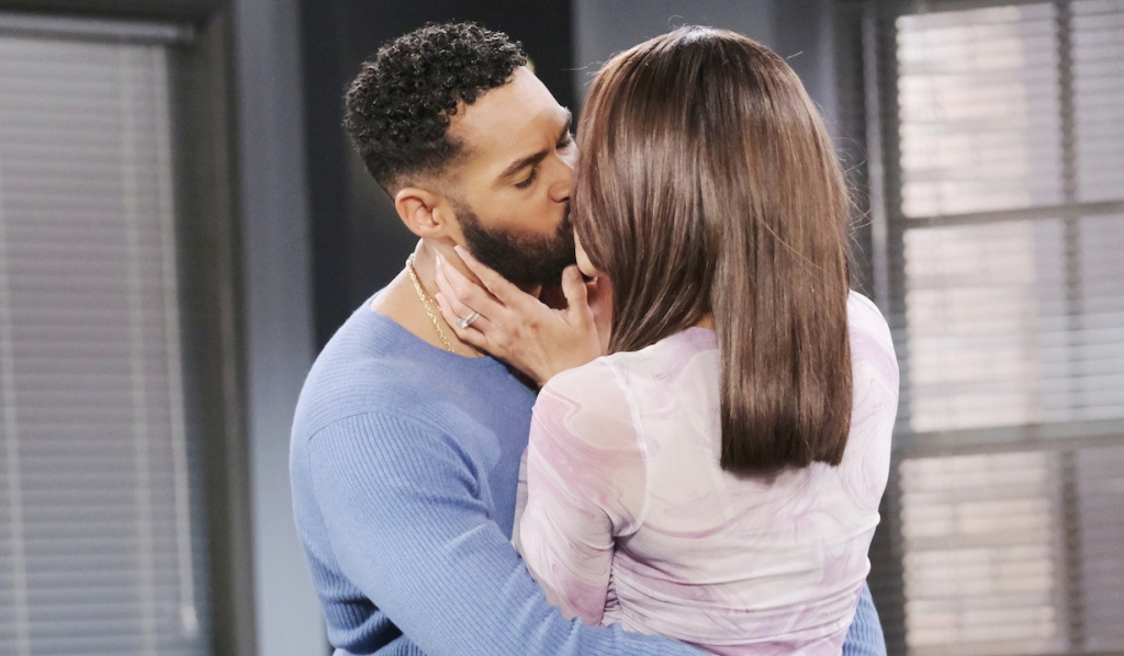 Eli and Lani kiss in the Salem police station on Days of Our Lives