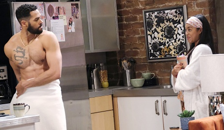 Chanel eyes Eli in a towel on Days of Our Lives