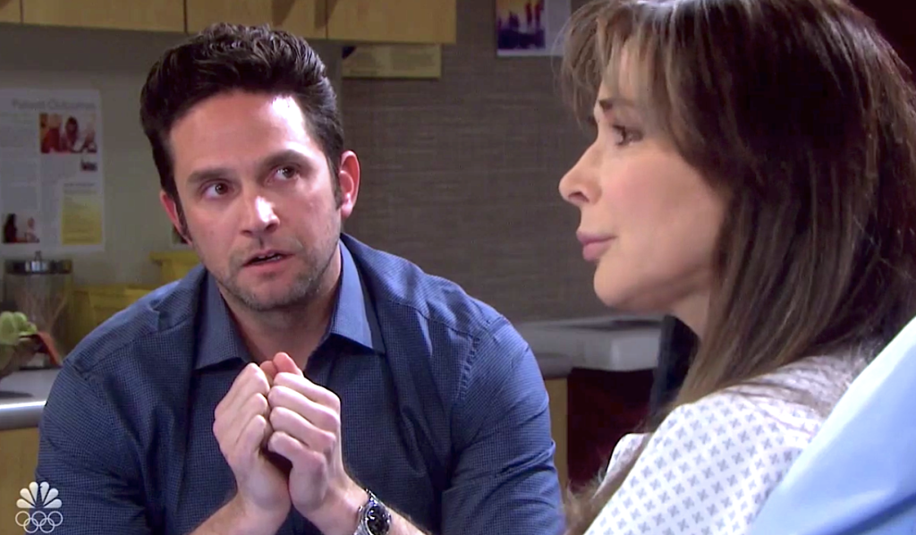 Jake guiltily looks at Kate on Days of Our Lives