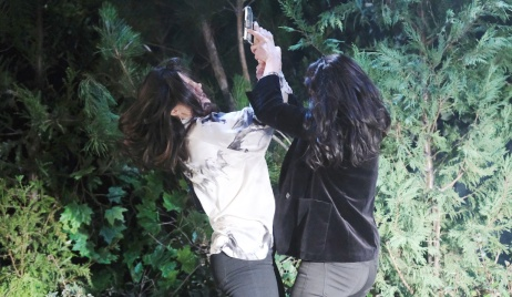 Jan and Chloe fight over a gun in the woods on Days of Our Lives
