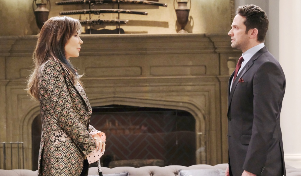 Kate faces Jake in the DiMera living room on Days of Our Lives