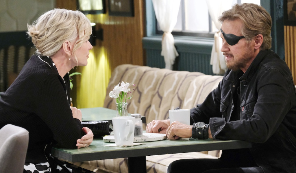 Kayla and Steve talk at Julie's Place on Days of Our Lives