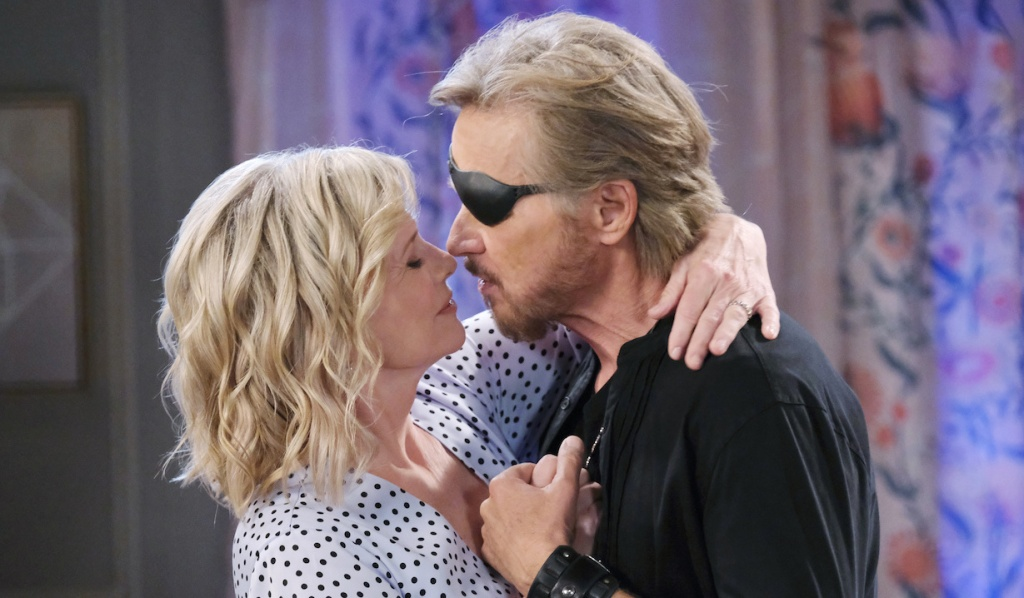 Steve and Kayla move in for a kiss on Days of Our Lives