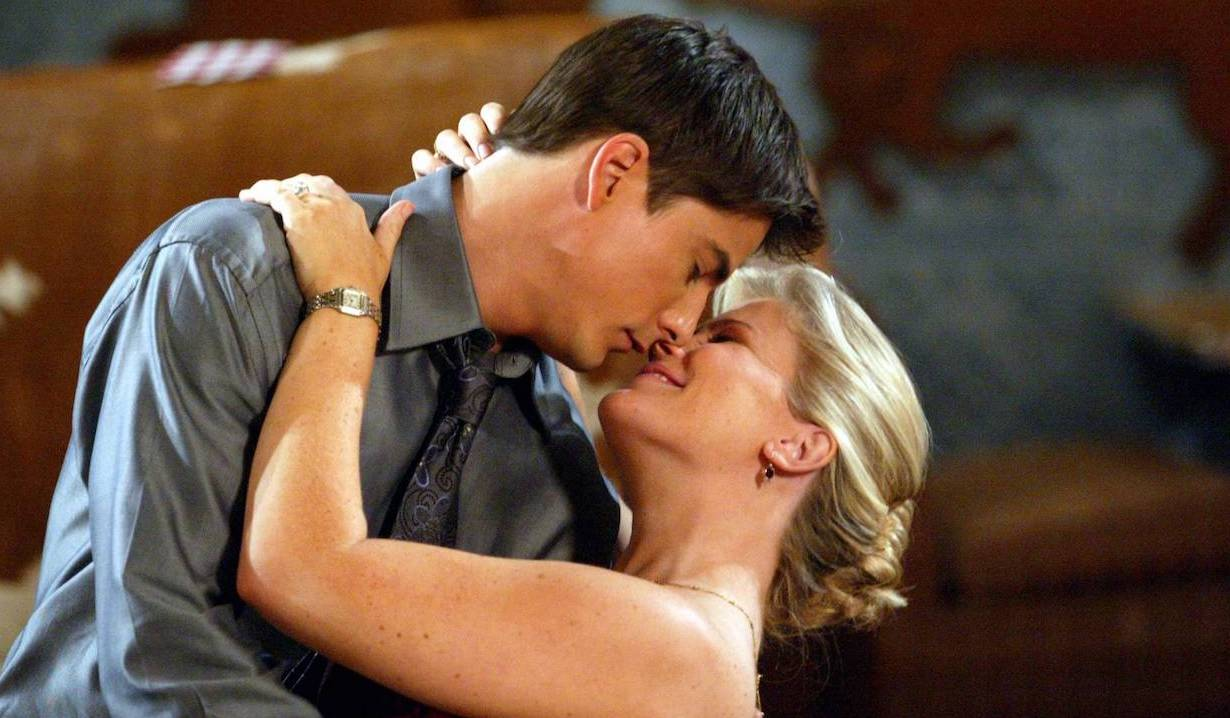 Lucas dips Sami into a kiss on Days of Our Lives