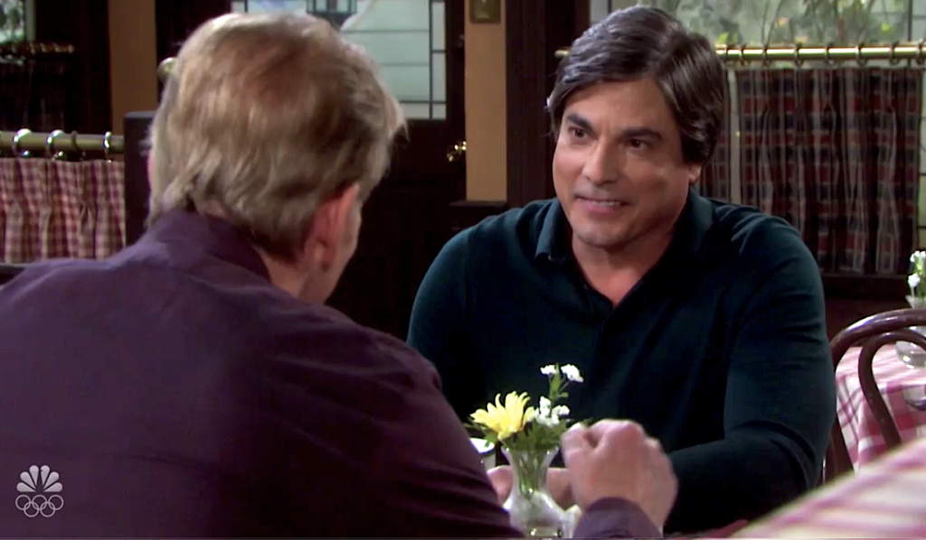 Lucas and Roman talk at Brady's Pub on Days of Our Lives