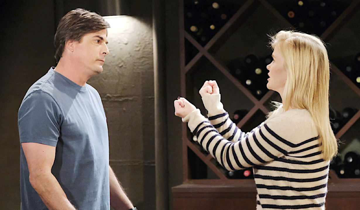 Lucas and Sami bicker in the wine cellar on Days of Our Lives