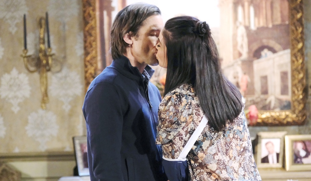 Philip and Chloe kiss in the Kiriakis mansion on Days of Our Lives