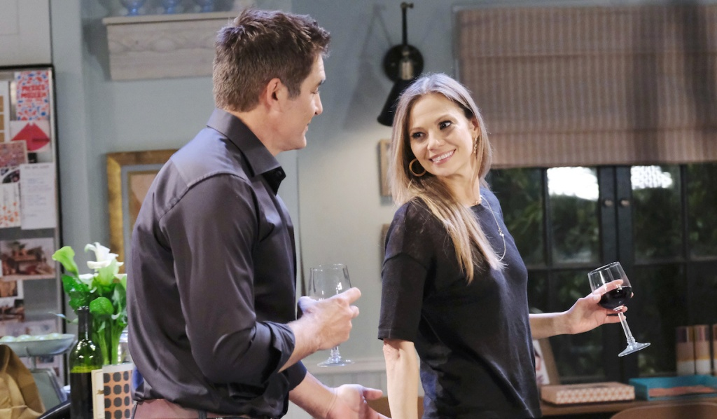 Rafe and Ava enjoy a glass of wine together on Days of Our Lives