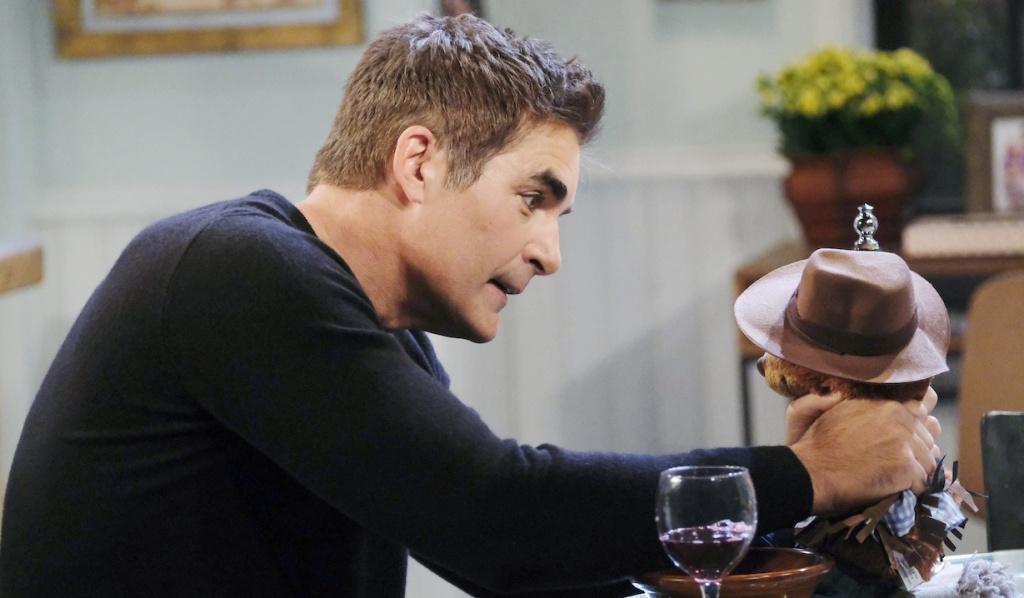Rafe strangles stuffed bear Duke in his kitchen on Days of Our Lives