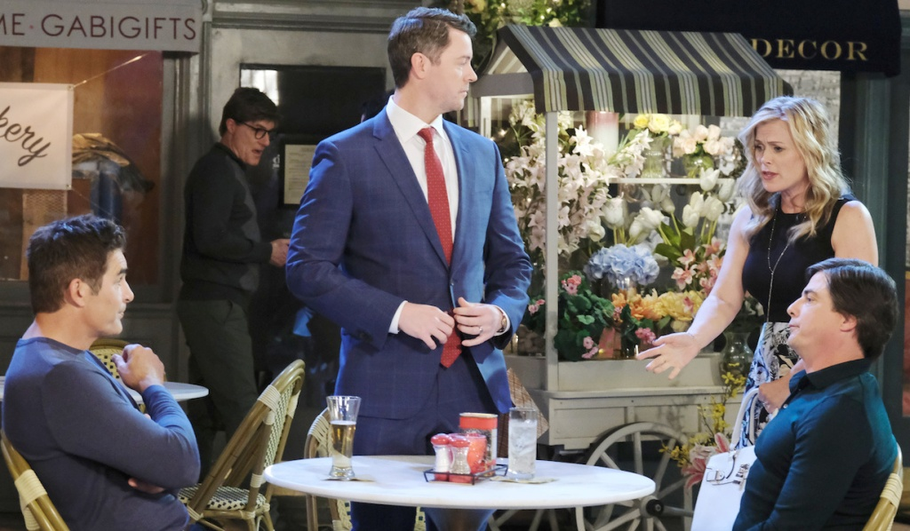 Sami finds EJ talking to Rafe and Lucas in Horton Square on Days of Our Lives