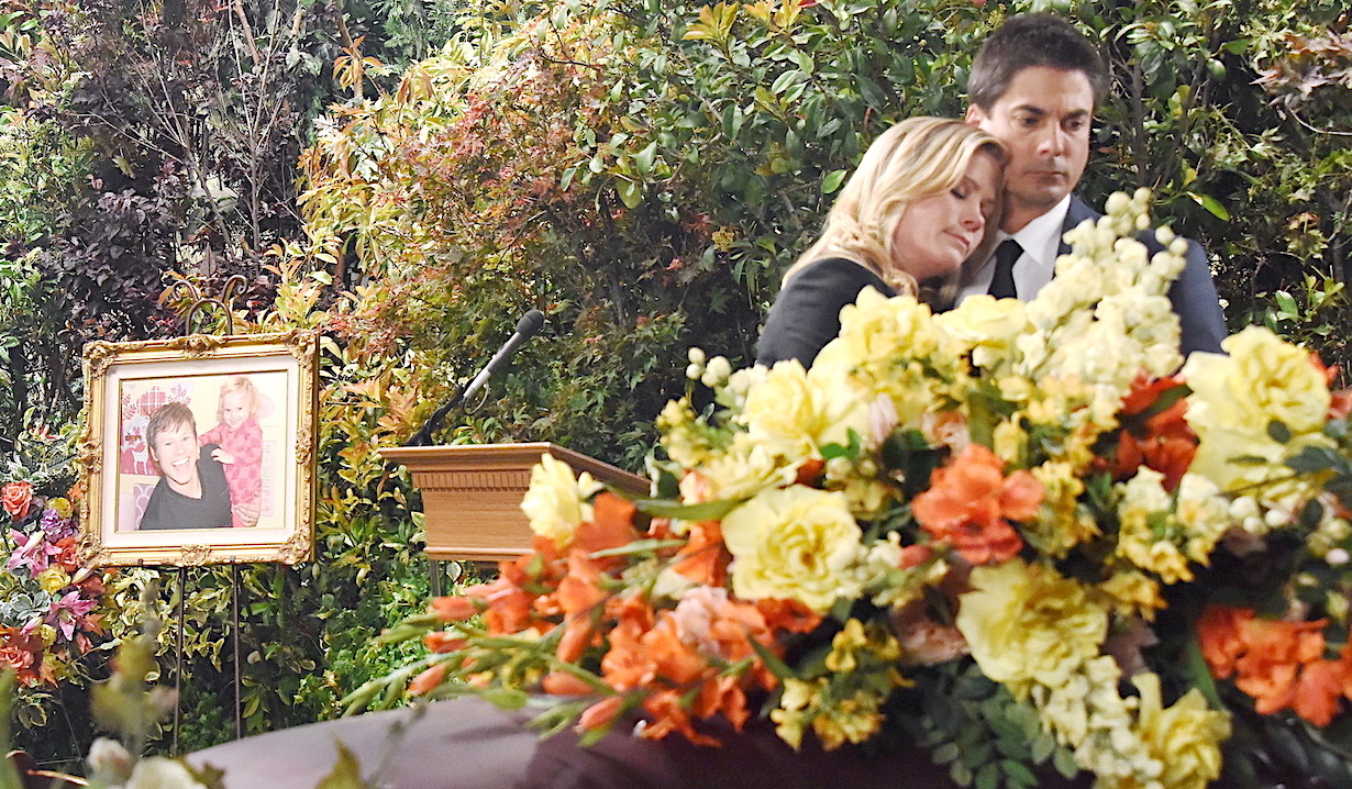 Sami and Lucas at Will's burial on Days of Our Lives