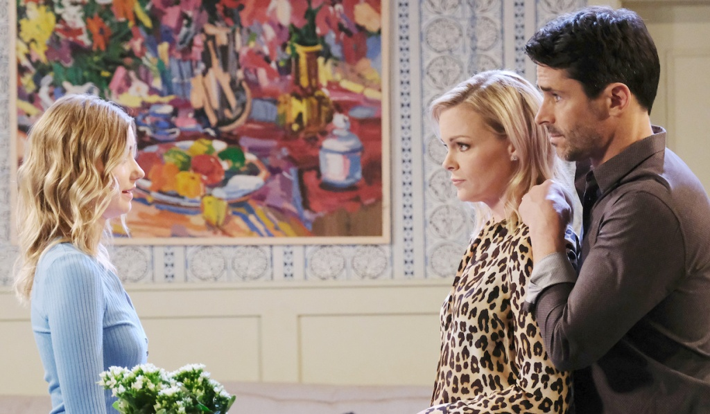 Shawn and Belle talk to Claire at home on Days of Our Lives