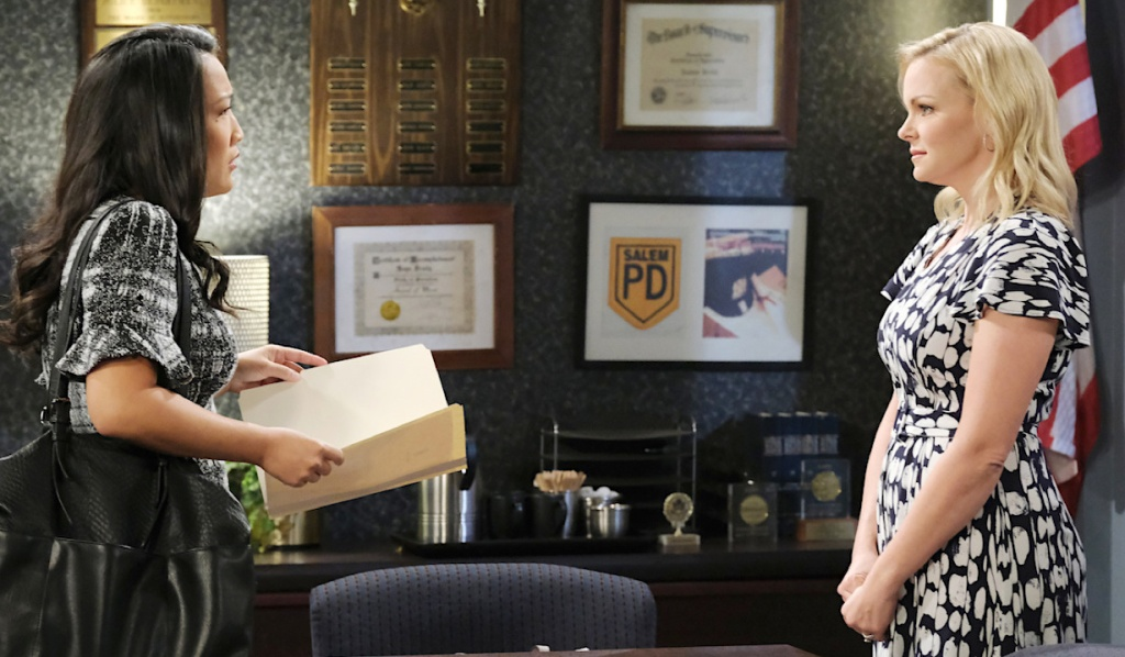 Claire faces Trask in the interrogation room on Days of Our Lives