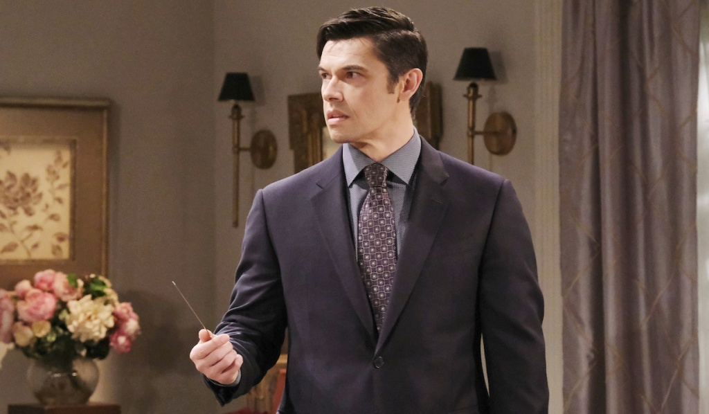 Xander weilds a letter opener on Days of Our Lives