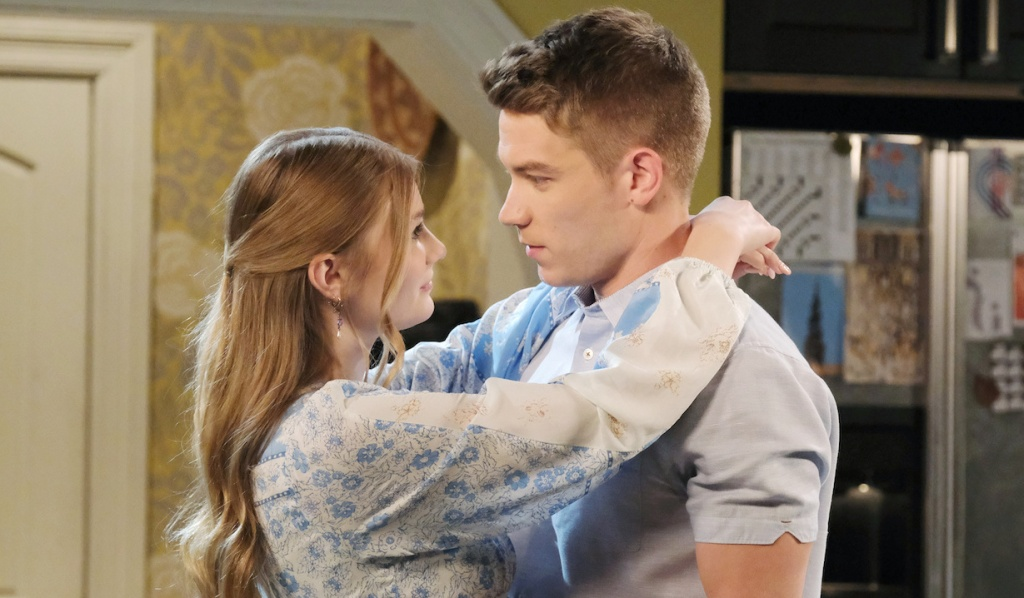 Allie wraps arms around Tripp's neck on Days of Our Lives