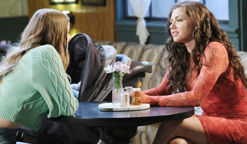 Allie and Ciara talk at Julie's Place on Days of Our Lives
