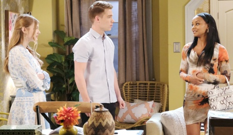 Tripp stands between Allie and Chanel on Days of Our Lives