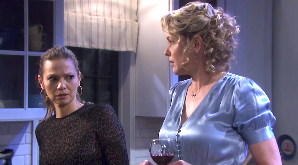 Ava reacts to Rafe talking to Duke the Bear on Days of Our Lives