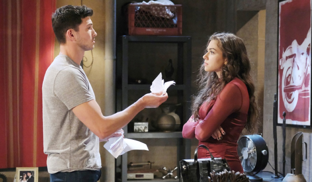 Ben holds ripped up divorce papers to Ciara on Days of Our Lives