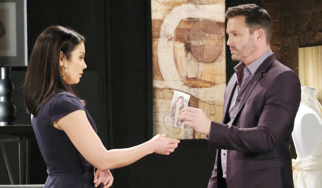 Brady shows Chloe her defaced photo on Days of Our Lives