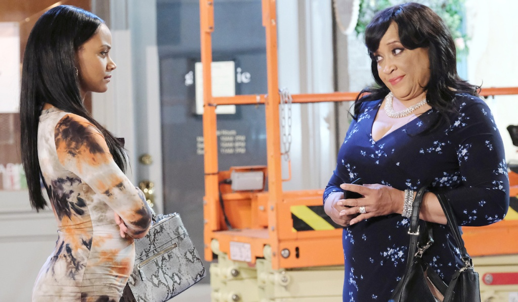 Paulina smirks at Chanel in Horton Square on Days of Our Lives
