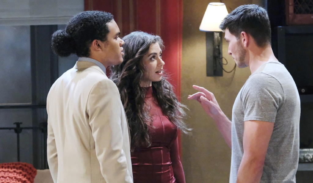 Ciara stands with Theo as Ben makes a point on Days of Our Lives