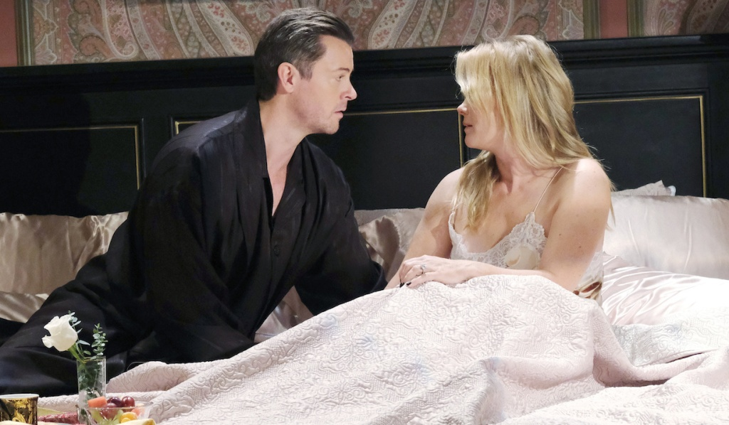 EJ and Sami have breakfast in bed on Days of Our Lives