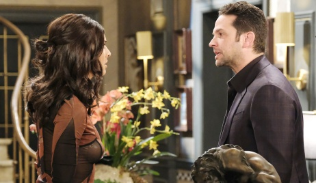 Gabi and Jake argue in the DiMera foyer on Days of Our Lives