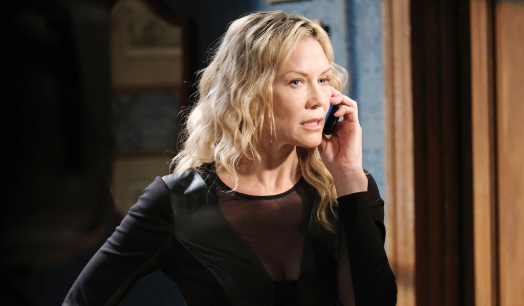 Kristen talks on the phone on Days of Our Lives