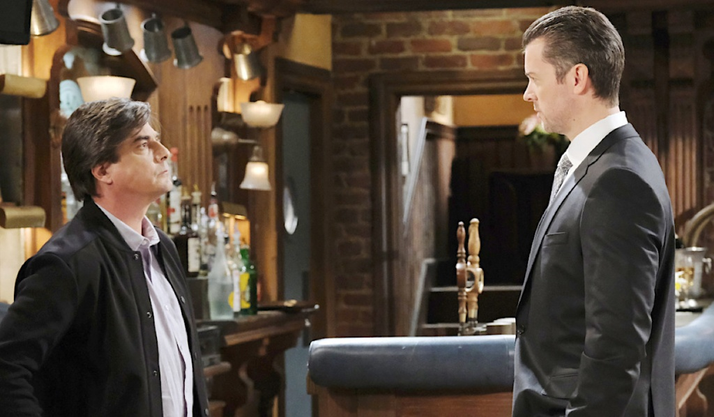 Lucas and EJ angrily confront each other at Brady's Pub on Days of Our Lives
