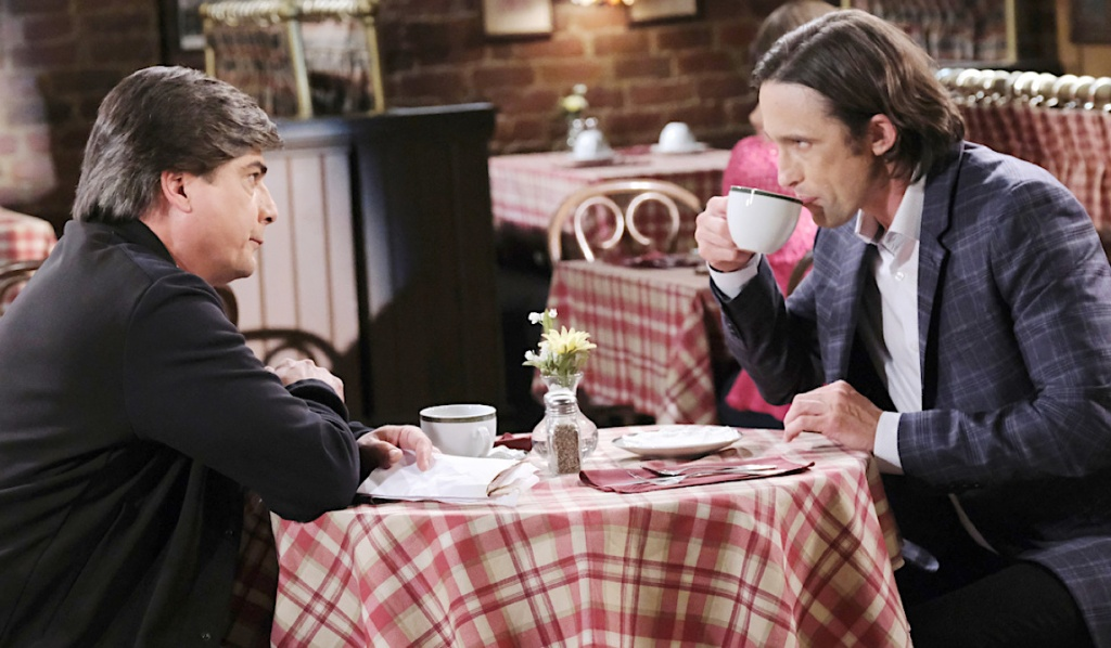 Lucas and Philip meet at Brady's Pub on Days of Our Lives