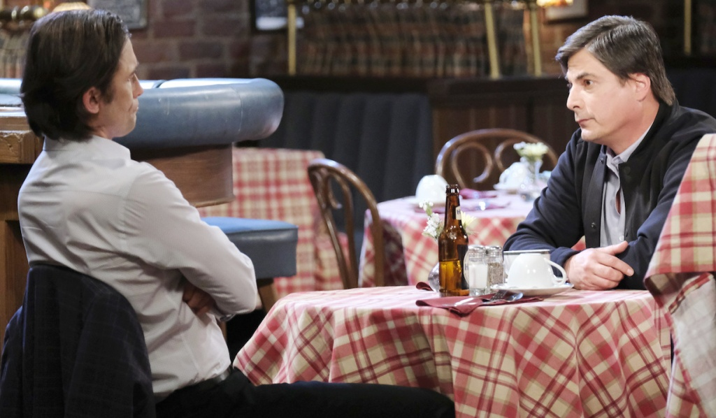 Philip and Lucas conspire at Brady's Pub on Days of Our Lives