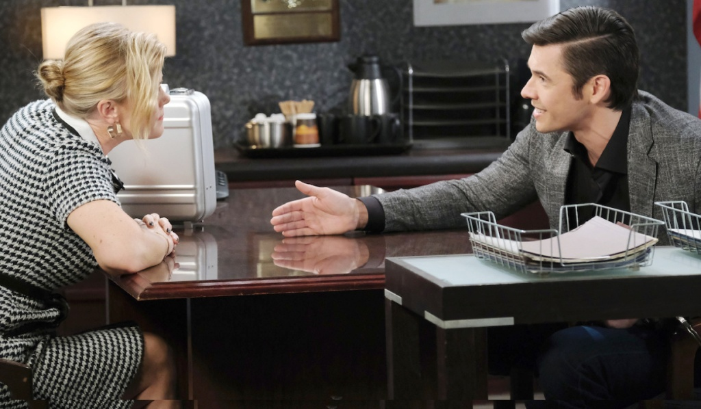 Xander appeals to Sami in the interrogation room on Days of Our Lives