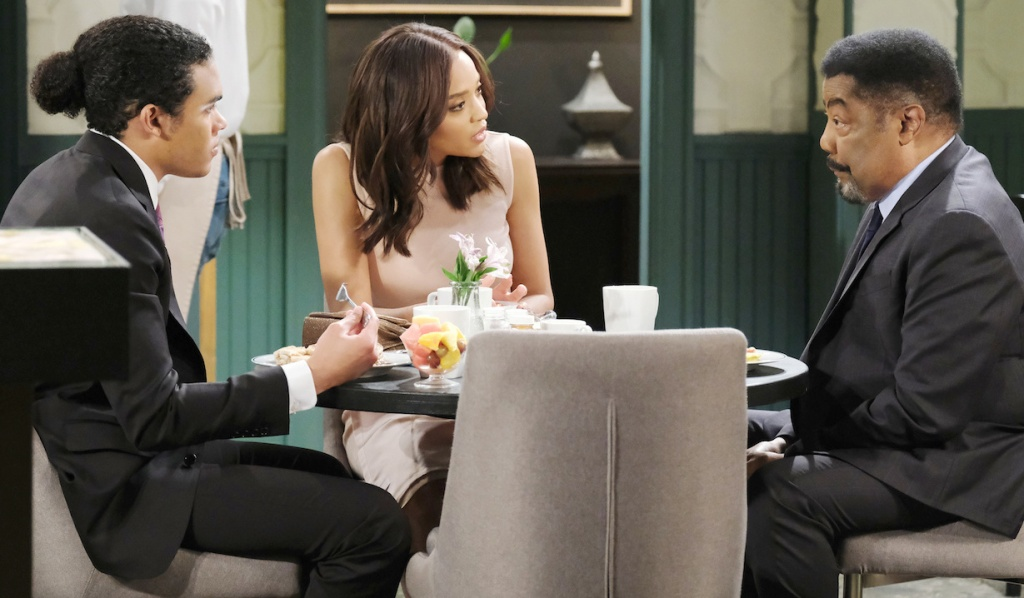 Abe talks with Lani and Theo at Julie's Place on Days of Our Lives