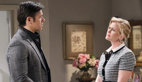 Xander spins a tale for an unconvinced Sami on Days of Our Lives