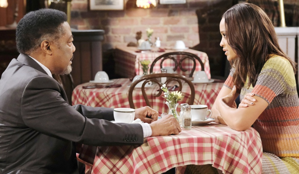 Abe and Lani discuss Paulina at Brady's Pub on Days of Our Lives