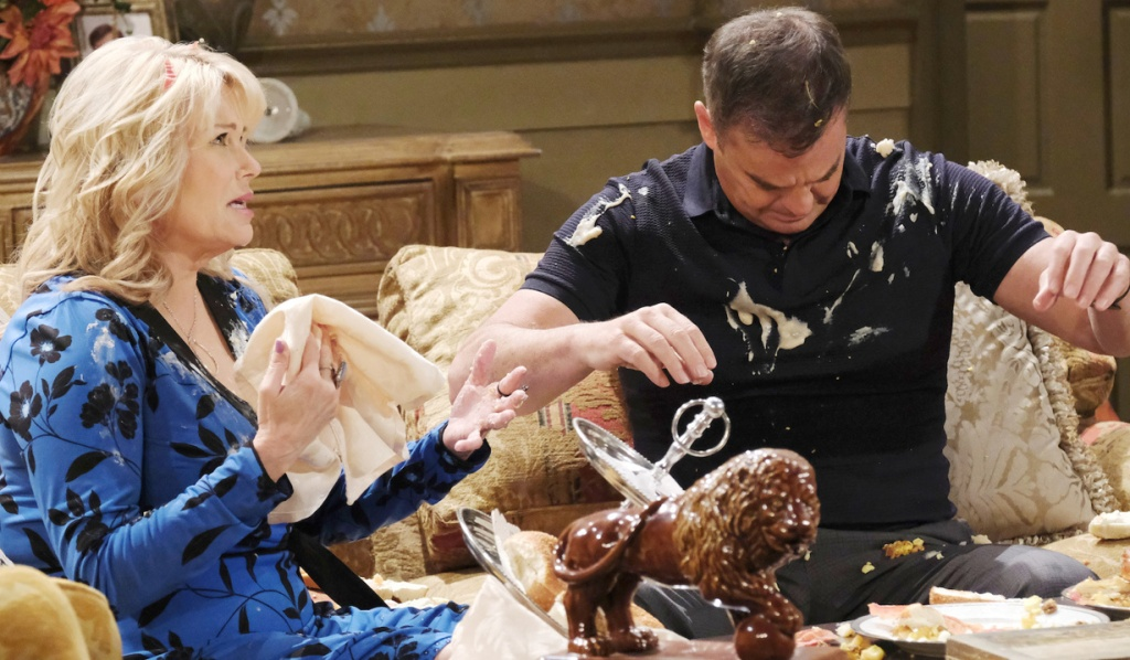 Bonnie and Justin share a disasterous meal on Days of Our Lives