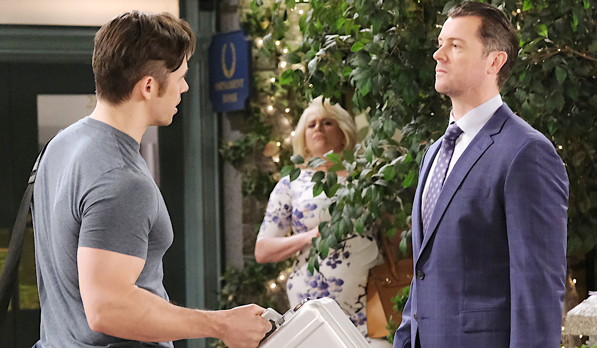 Calista spies Xander with a briefcase talking to EJ in the Square on Days of Our Lives
