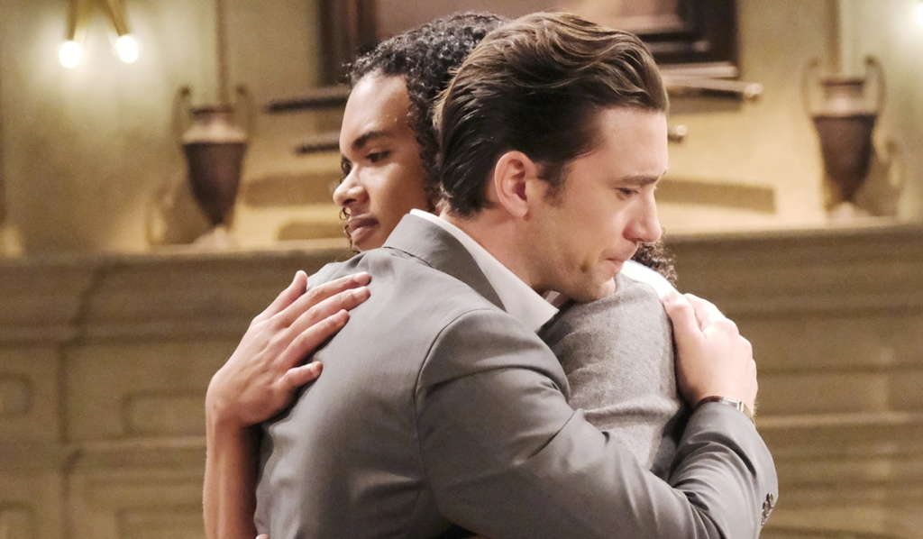 Chad and Theo hug on Days of Our Lives