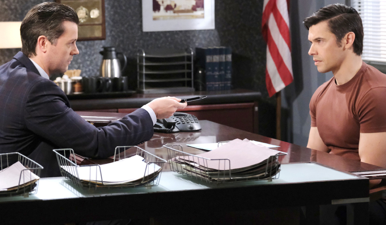 EJ makes Xander an offer at the police station on Days of Our Lives