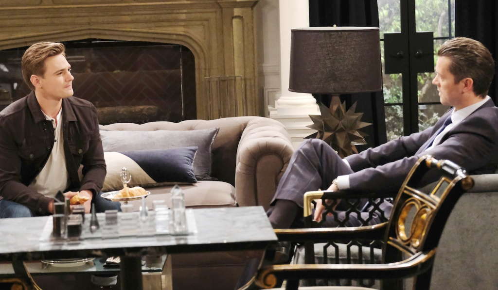 Johnny and EJ talk at the mansion on Days of Our Lives
