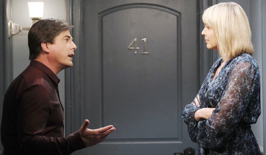 Lucas makes an emphatic point to Nicole on Days of Our Lives