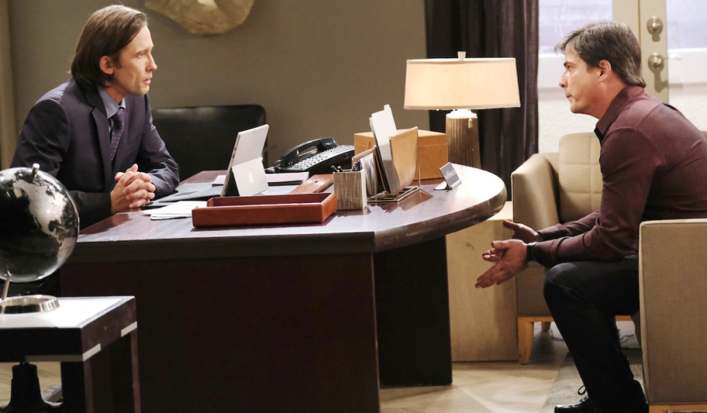 Lucas talks to Philip in the Titan office on Days of Our Lives